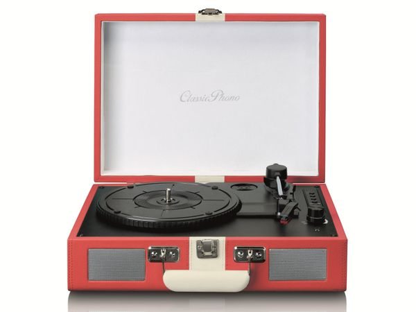 Plattenspieler LENCO TT-110, Retro-Stil, Bluetooth, int. Lautsprecher, rot