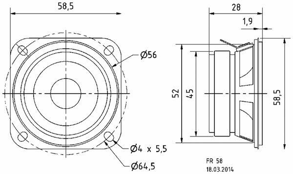 Breitbandlautsprecher VISATON FR 58, 4 Ohm - Produktbild 2