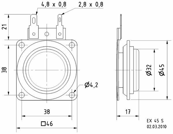 Exciter VISATON EX 45 S, 8 Ohm - Produktbild 3
