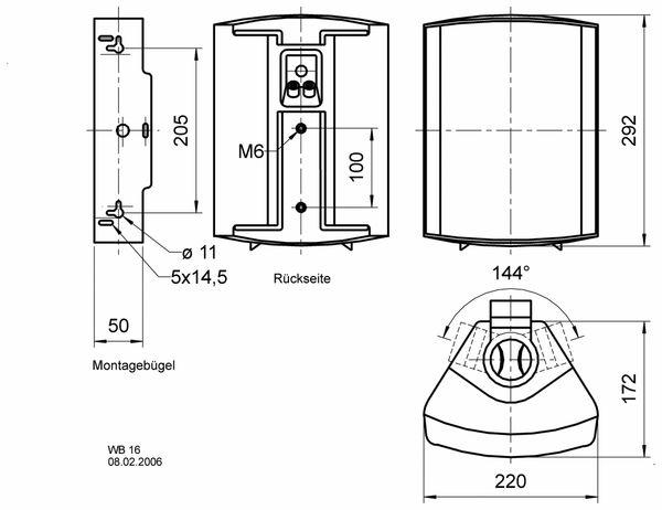Lautsprecherbox VISATON WB 16, schwarz, 100 V, 8 Ohm - Produktbild 2