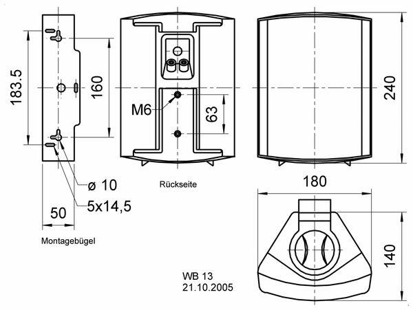 Lautsprecherbox VISATON WB 13, weiß, 100 V, 8 Ohm - Produktbild 2