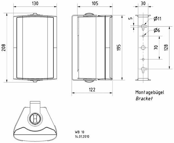 Lautsprecherbox VISATON WB 10,schwarz, 100 V, 8 Ohm - Produktbild 2