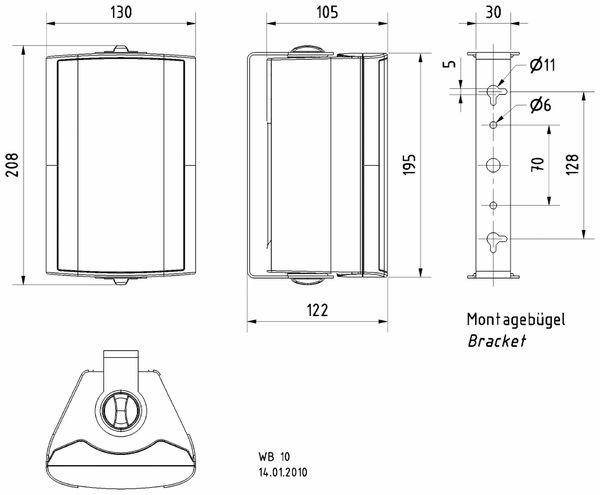 Lautsprecherbox VISATON WB 10, weiß, 100 V, 8 Ohm - Produktbild 2
