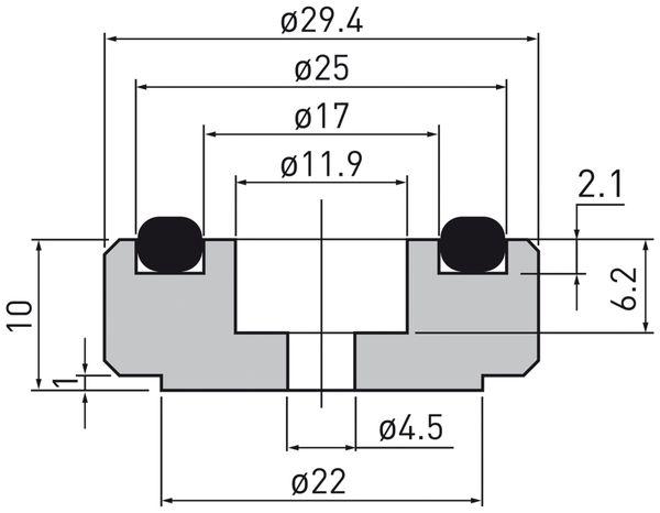Gerätefüsse DYNAVOX, Aluminium, silber, 4 Stück - Produktbild 3