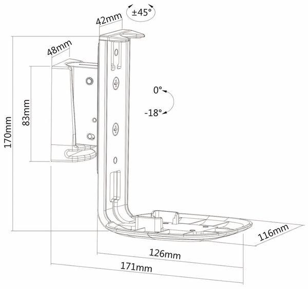 Lautsprecher-Wandhalterung PUREMOUNTS PM-SOM-051, für Sonos One, weiß - Produktbild 4