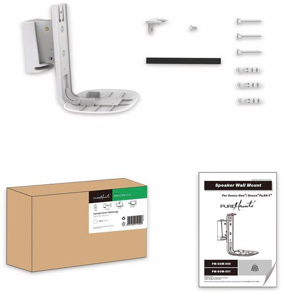 Lautsprecher-Wandhalterung PUREMOUNTS PM-SOM-051, für Sonos One, weiß - Produktbild 5