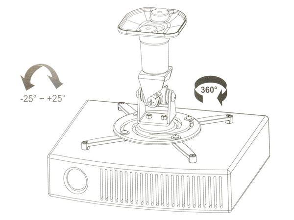Beamer-Deckenhalterung PUREMOUNTS PM-Spider-Plus, 180...310mm, weiß - Produktbild 2