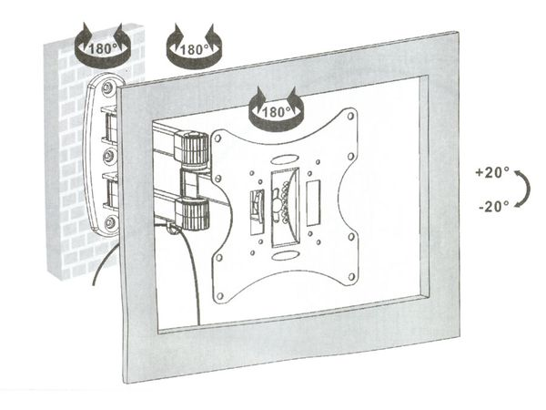 Wandhalterung PUREMOUNTS PM-BASIC2-37, 75x75...200x200 mm - Produktbild 2