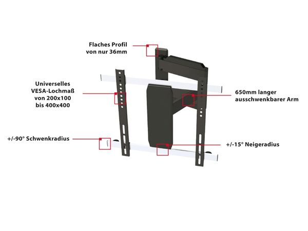 TV-Wandhalter PUREMOUNTS PM-Slimflex-52, max. VESA 400x400 mm - Produktbild 3