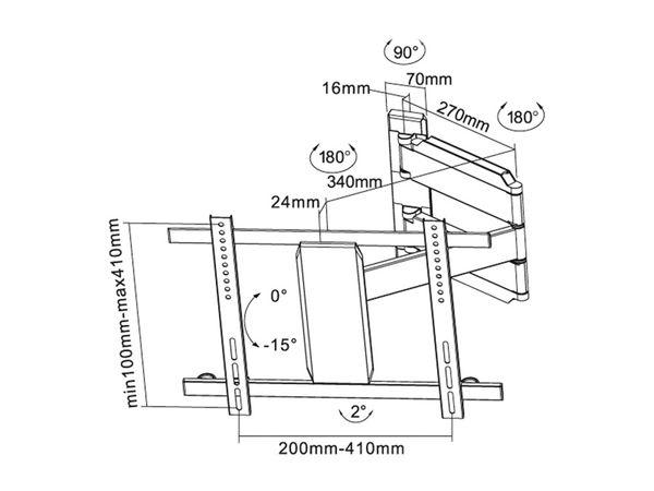 TV-Wandhalter PUREMOUNTS PM-Slimflex-52, max. VESA 400x400 mm - Produktbild 4