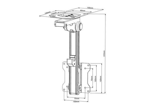 TV-Deckenhalter PUREMOUNTS PM-Slope-23, max. VESA 100x100 mm - Produktbild 4