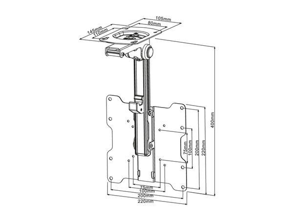 TV-Deckenhalter PUREMOUNTS PM-Slope-37, max. VESA 200x200 mm - Produktbild 5