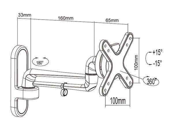 TV-Wandhalter PUREMOUNTS PM-Style-23B, max. VESA 100x100 mm - Produktbild 3