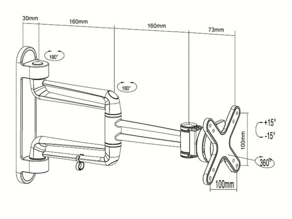 TV-Wandhalter PUREMOUNTS PM-Style-23C, max. VESA 100x100 mm - Produktbild 3