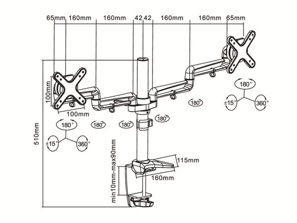 LCD-Schreibtischhalter PUREMOUNTS PM-Style-DM-23D, max. VESA 100x100 mm - Produktbild 6