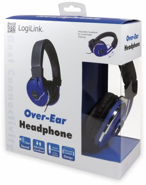 Over-Ear Kopfhörer LOGILINK HS0040, schwarz/blau - Produktbild 9