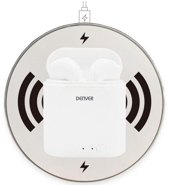 In-Ear Ohrhörer DENVER TWQ-40P, weiß, mit QI-Ladeschale