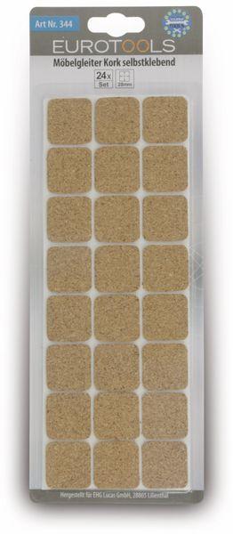 Möbelgleiter EUROTOOLS 344-NBFR, Kork, 28x28 mm, 24 Stück - Produktbild 2
