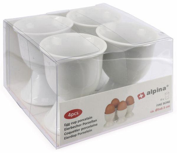 Porzellan-Eierbecher 4 Stück, weiß - Produktbild 3