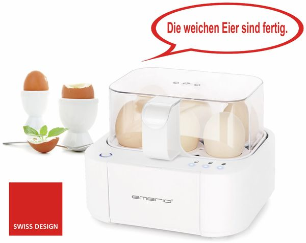 Eierkocher EMERIO EB-115560.2, 6 Eier, 400 Watt, Sprachausgabe, weiß