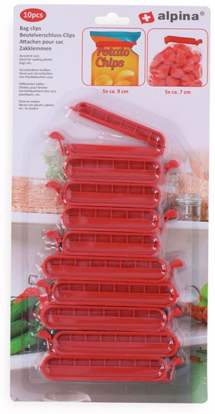 Beutel-Verschlussklammern ALPINA. 10 Stück, rot - Produktbild 2