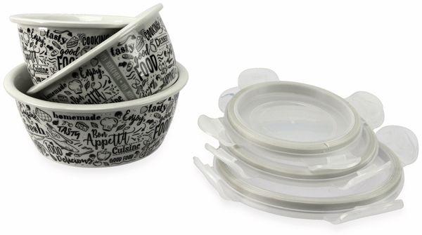 Porzellan-Schüsseln 3er Set mit Deckel, Motiv: Küche