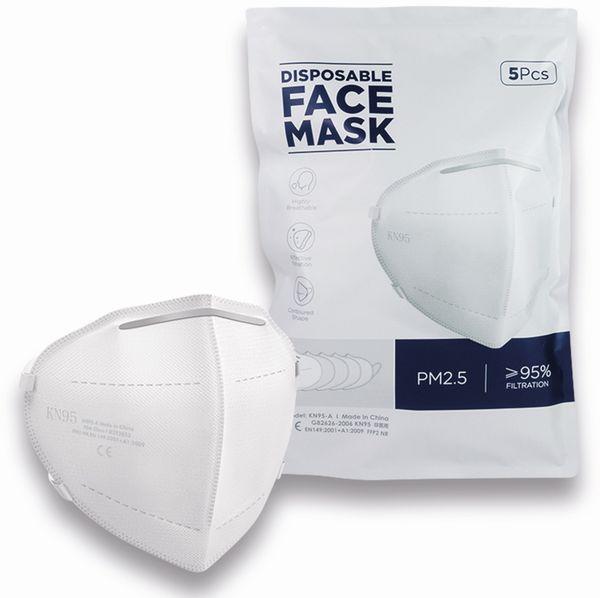 5er Pack Einweg-Atemschutzmasken LogiLink, FFP2, faltbar mit Ohrschlaufen