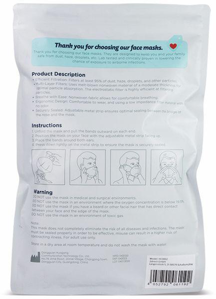 5er Pack Einweg-Atemschutzmasken LogiLink, FFP2, faltbar mit Ohrschlaufen - Produktbild 3