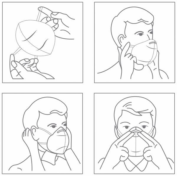 5er Pack Einweg-Atemschutzmasken LogiLink, FFP2, faltbar mit Ohrschlaufen - Produktbild 5