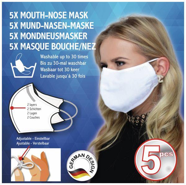 Mundschutzmaske, 2-lagig, waschbar, 5 Stück - Produktbild 2