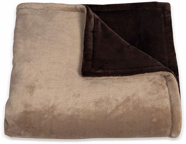 Elektrische Fleece-Decke TREBS 99342, 160 W, braun und beige