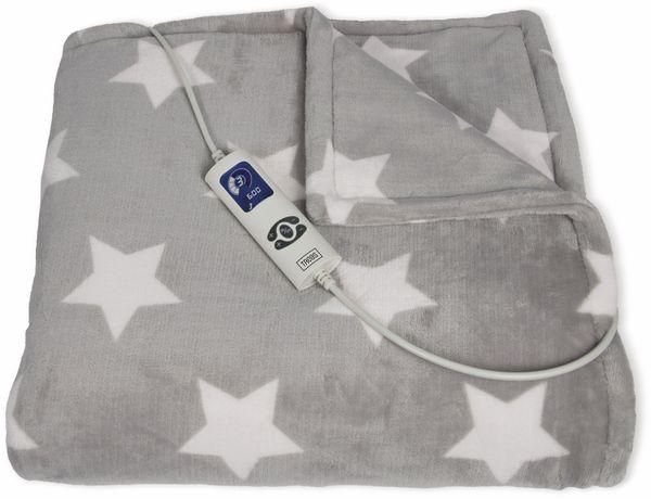Elektrische Fleece-Decke TREBS 99343, 160 W, grau mit Sterne