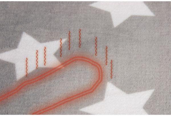 Elektrische Fleece-Decke TREBS 99343, 160 W, grau mit Sterne - Produktbild 2