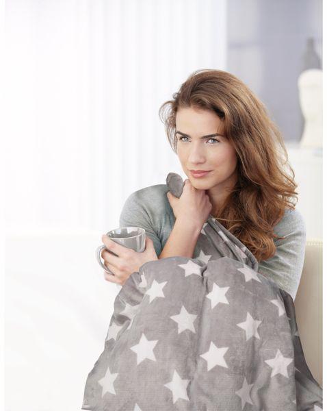 Elektrische Fleece-Decke TREBS 99343, 160 W, grau mit Sterne - Produktbild 4