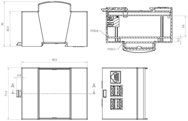 Hutschienen-Gehäuse für ODROID-C1, 4TE - Produktbild 3