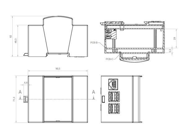 Hutschienen-Gehäuse für ODROID-C1, 4TE - Produktbild 4