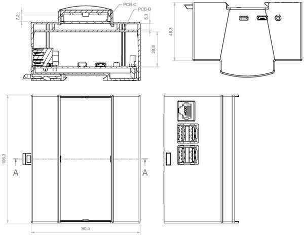Hutschienen-Gehäuse für ODROID-C1, 6TE - Produktbild 4