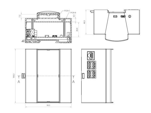 Hutschienen-Gehäuse für ODROID-C1, 6TE - Produktbild 5