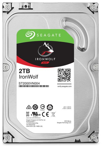 "SATA-HDD SEAGATE Ironwolf ST2000VN004, 3,5"", 2TB, 5900RPM, 64MB"