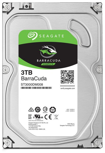 "SATA-HDD SEAGATE Barracuda ST3000DM008, 3,5"", 2TB, 5400RPM, 64MB"