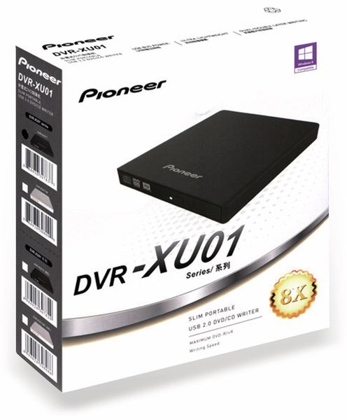 DVD-Brenner PIONEER DVR-XU01T, USB, portable, schwarz