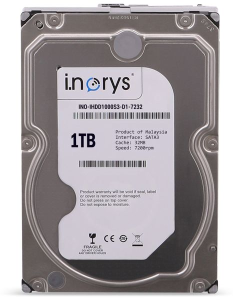 """SATA-HDD I.NORYS, 3,5"""", 1 TB, 7200 U/min"""