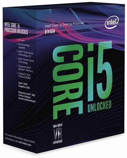 CPU INTEL Core i5-8600K, 6x 3,6 GHz, LGA1151, Übertaktungsgeeignet