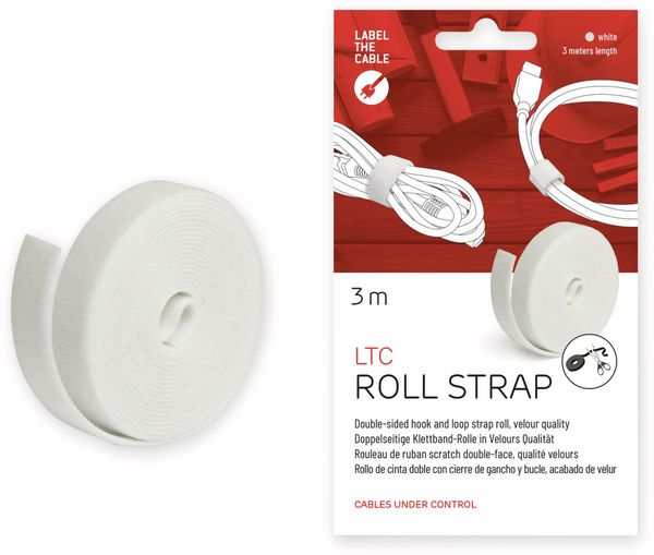 Klett-Rolle LABEL THE CABLE Roll Strap, 3 m, 16 mm, weiß