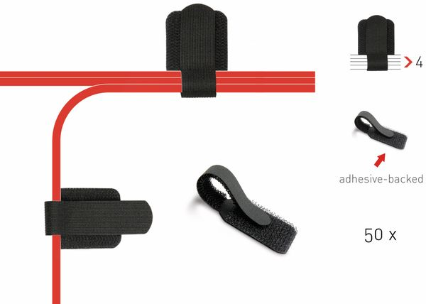 Klett-Kabelbinder LTC WALL STRAPS, schwarz, 50 Stück - Produktbild 2