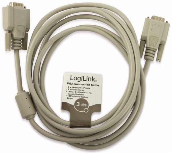 VGA-Anschlusskabel, LogiLink, Stecker-Stecker, 3 m - Produktbild 2