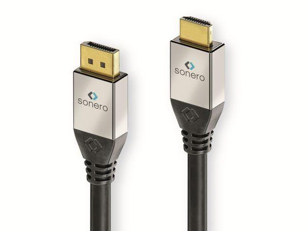 DisplayPort-Kabel SONERO Premium, 1 m, DP-Stecker/HDMI-Stecker, 4K, schwarz