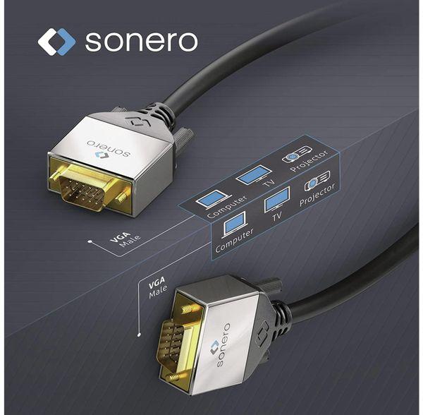 VGA-Anschlusskabel SONERO Premium, 3 m, Stecker/Stecker, Full-HD - Produktbild 3