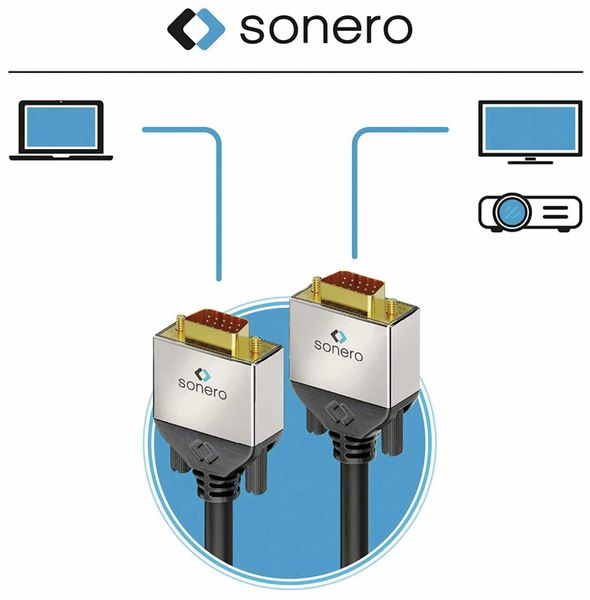 VGA-Anschlusskabel SONERO Premium, 3 m, Stecker/Stecker, Full-HD - Produktbild 4