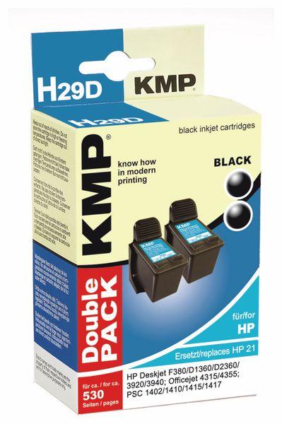 Tintenpatronen-Set KMP, kompatibel für 2x HP 21XL (C9351CE), schwarz